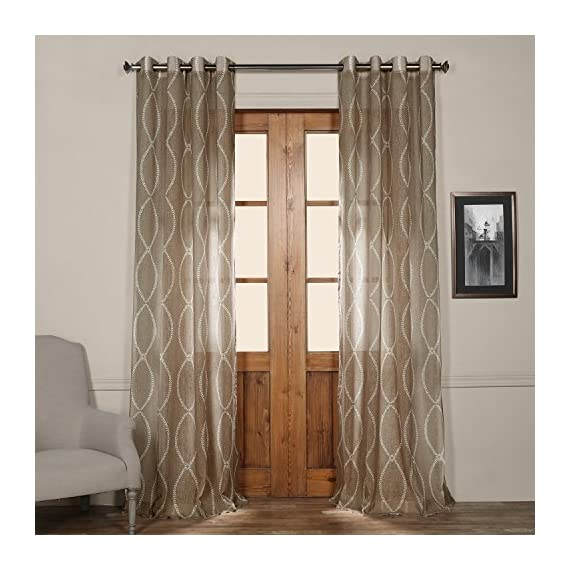 HPD Half Price Drapes SHCH-PS16071-120-GR Grommet Printed Sheer Curtain (1 Panel), 50 X 120, Grecian Taupe - Sold per panel 100Percent polyester Finished with 8 Nickel finish grommets (1-1/2Opening) - living-room-soft-furnishings, living-room, draperies-curtains-shades - 51CF2JHSH6L. SS570  -