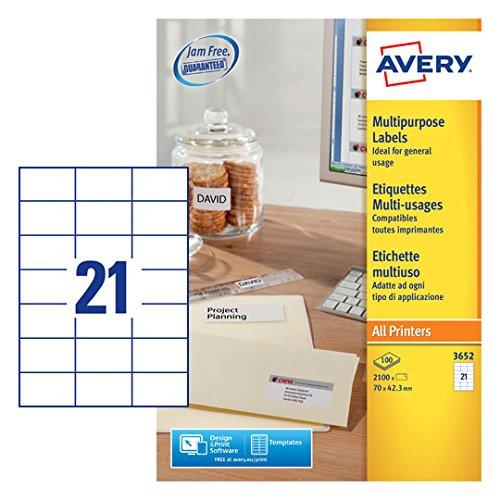 Avery 3652 Universal-Etikette (A4) B00272NL64 Universal-Aufkleber Empfohlen heute
