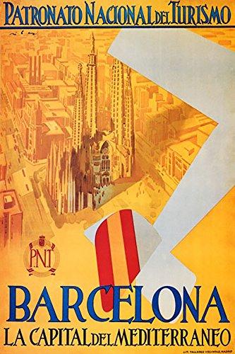 BARCELONA PATRONATO NACIONAL DEL TURISMO AIRPLANE OVERVIEW CITY CATHEDRAL SPAIN TRAVEL VINTAGE POSTER REPRO WONDERFULITEMS SN33