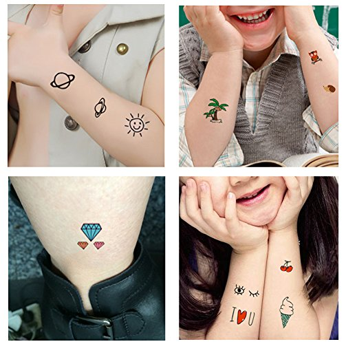 TAFLY Temporary Tattoos for Kids 70+ Designs Temporary Fake Cartoon Tattoos-Star Animal Skull Fruit Alphabet for Party Favors for Boys and Girls 5 Sheets (Small Rub)