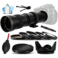 Opteka 420-800mm f/8.3 HD Telephoto Zoom Lens Bundle Package includes 5 Piece UV-CPL-FL-Macro 10x-ND4 Filters + Tulip Hood + Cap Keeper + Air Dust Blower + Lens Pen + Cleaning Kit for Canon EOS 6D, 7D, 60D, 60Da, 70D, 100D, 550D, 600D, 650D, 700D, 1100D, 1200D, 5D Mark II III 2 3 5DM2 5DM3, 1D Mark 3 4 III IV 1Dx 1D X, Rebel SL1, T2i, T3, T3i, T4i, T5, T5i, Kiss X4, X5, X6i, X7i, X50, X70 DSLR SLR Digital Camera