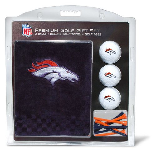 - Team Golf NFL Denver Broncos Gift Set Embroidered Golf Towel, 3 Golf Balls, and 14 Golf Tees 2-3/4