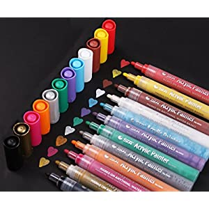 Acrylic Paint Pen for Ceramic Painting - Permanent Acrylic Marker Pens for Rock Painting, Glass, Porcelain, Mug, Wood, Fabric, Canvas, Craft Projects, Set of 12 Colors