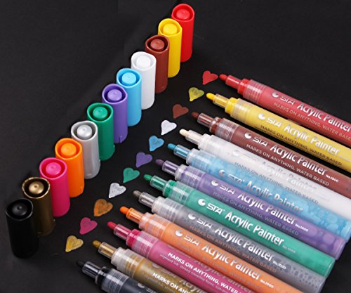Acrylic Paint Pen for Ceramic Painting - Permanent Acrylic Marker Pens for Rock Painting, Glass, Porcelain, Mug, Wood, Fabric, Canvas, Craft Projects, Set of 12 Colors (Enamel Finish Yellow)