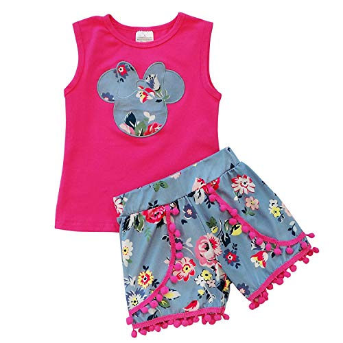 So Sydney Girls Toddler Pom Pom Novelty Summer Pool Beach Vacation Shorts Outfit (7 (XXL), Minnie Blue - Boutique Girls Outfit