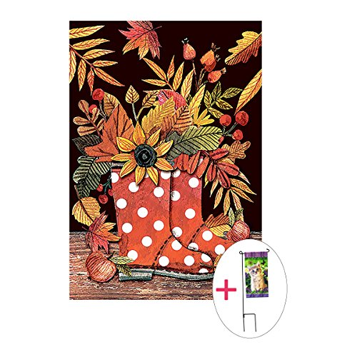 Morigins Welcome Fall Yard Flag Decorative Leaf Boots Double