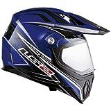 LS2 Helmets MX453 Adventure Motorcycle Helmet with Gears Graphic (Blue, Medium)