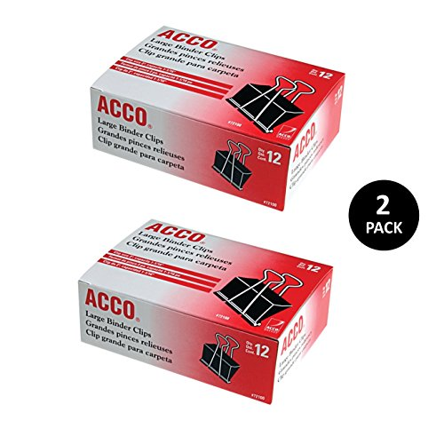 ACCO Binder Clips, Large, 12 Clips/Box, 2 Pack (A7072102) by ACCO Brands (Image #1)