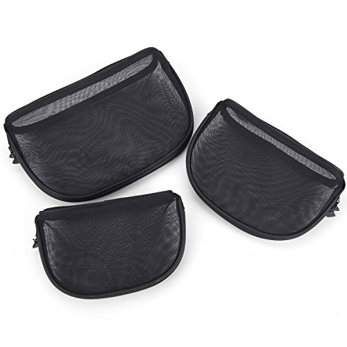 Miracu 3PCS Mesh Cosmetic Bags for Women in Large, Medium, Small Size Travel Toiletry Bags Makeup Bag Storage Bag (Black)