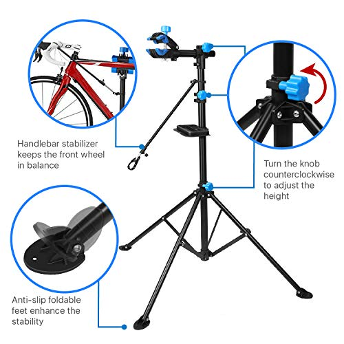 Flexzion Bike Repair Stand Rack Foldable Cycle Bicycle Workstand Home Pro Mechanic Maintenance Tool Adjustable 41'' To 75'' With Telescopic Arm Clamp Lightweight and Portable by Flexzion (Image #1)