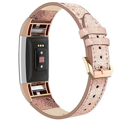 Simpeak Compatible for Fitbit Charge 2 Leather Bands, Genuine Leather Band Strap for Fitbit Charge 2,Black/White/Beige/Brown/Gold/Pink/Purple/Red/Grey (Gold Band+Rose Gold ()