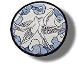 [Single Count] Custom and Unique (4'' Inch) Circular Two Doves In The Clouds Design Iron On Embroidered Applique Patch {Blue, Black, White Colors}