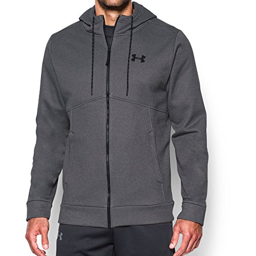 Under Armour Men's Storm Armour Fleece Full Zip Hoodie, Carbon Heather/Green Typhoon, Large