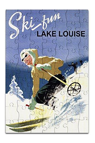 Ski Fun Lake Louise - Vintage Skier (8x12 Premium Acrylic Puzzle, 63 Pieces) (Ski Park Fun)