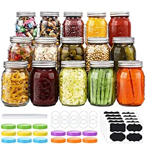 15-Count Mason Jars 16 oz, Regular Mouth Canning Jars with Metal Airtight Lids and Bands, Extra Leak-Proof Colored Lids…