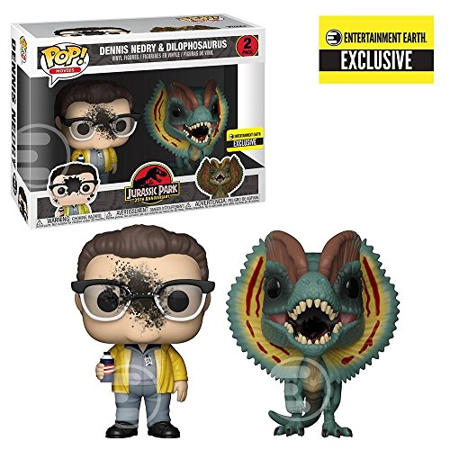 Funko Pop Movies: Jurassic Park - Dennis Nedry and Dilophosaurus Goo-Splattered Pop! Vinyl Figure 2-Pack - Entertainment Earth Exclusive -