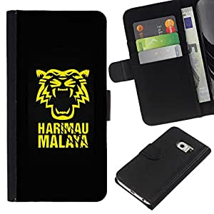 All Phone Most Case / Oferta Especial Cáscara Funda de cuero Monedero Cubierta de proteccion Caso / Wallet Case for Samsung Galaxy S6 EDGE // Harimau Malaya Tiger
