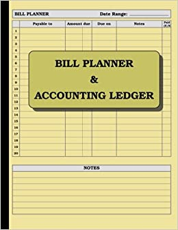 bill planner and accounting ledger 110 pages size 8 5 x 11