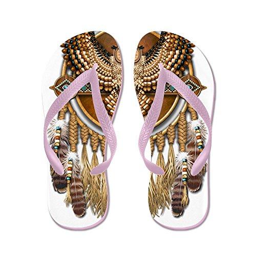 Cafepress Native American Uil Mandala - Flip Flops, Grappige String Sandalen, Strand Sandalen Roze