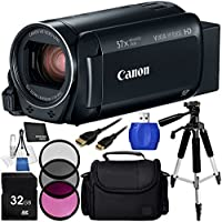 Canon VIXIA HF R800 Camcorder (Black) - 8PC Accessory Bundle Includes 32GB SD Memory Card + 3 Piece Filter Kit (UV, CPL, FLD) + 57 Tripod + Medium Carrying Case + Mini HDMI to HDMI Cable + MORE
