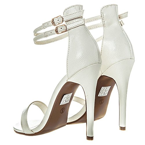 Hvit Dobbeltforstropp 'høye 8 Women 7 Slange Stilett 4 6 5 Åpen 3 Størrelse Hæler Tå OdAqxAnrXw