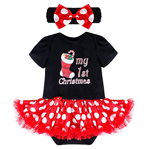 YiZYiF My First Christmas Costume Baby Girls' Polka Dots 2 Pieces Tutu Romper with Headband Black Stocking 3-6 (Dot Candy Costume)