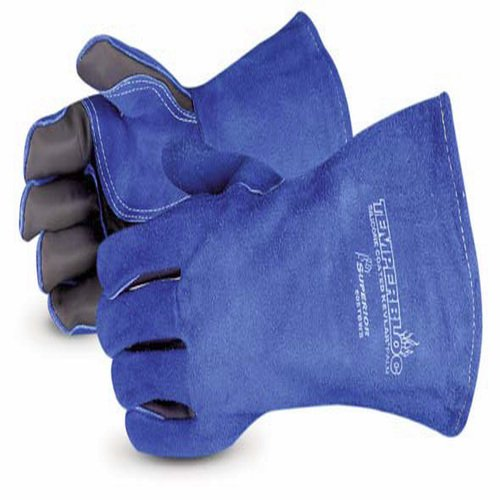 Superior 505TBWS Temperbloc Premium Side-Split Leather Welding Glove with Temperbloc Palms and Kevlar Sewn, Work, Blue (Pack of 1 Pair)