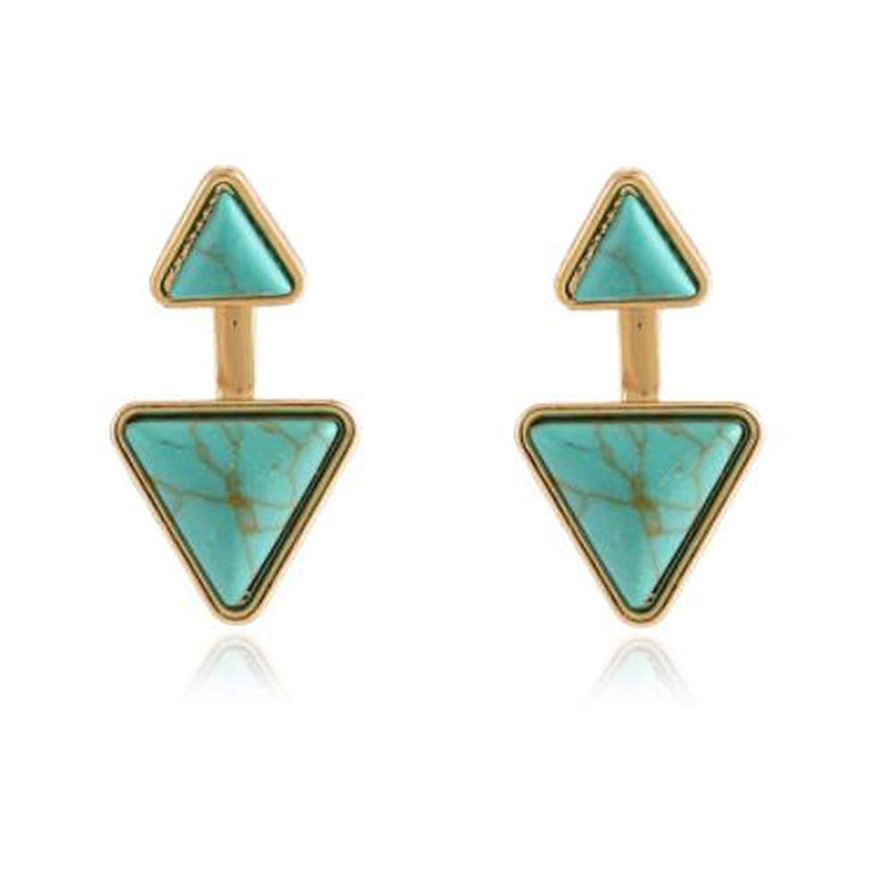 HoGadget Triangle Turquoise Rhinestone Front Back Ear Jacket Stud Earrings for Women Girls