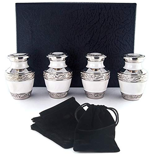 - Adera Dreams Small Cremation Urns for Human Ashes Pearl White Mini Keepsake Urn Set of 4 - with Premium Case and Velvet Carrying Pouches - Miniature Memorial Funeral Urns for Sharing Ashes