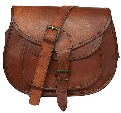 (cuero 14 Inch Leather Crossbody Satchel Ladies Purse Women Shoulder Bag Tote Travel Purse Genuine Leather (brown))