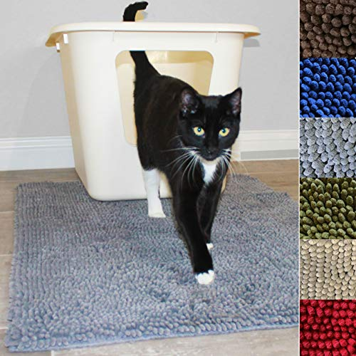 Enthusiast Gear Cat Litter Mat for Kitty Litter Box | Washable Easy Clean Rug with Scatter Control – Traps Litter – Soft…