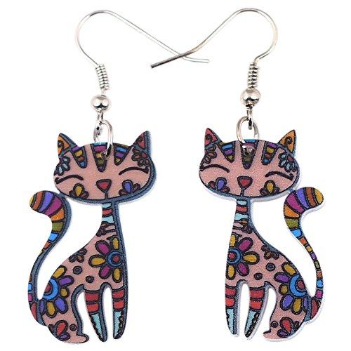 Bonsny Sweet Dangle Sitting CAT Earrings Acrylic Long Drop For Girls Women Pattern Jewelry