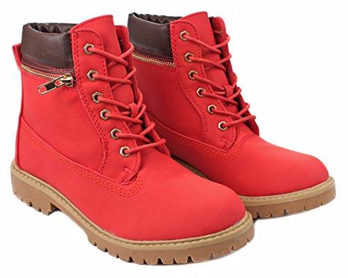 Denver10 Faux Nubuck Snøre På Golden Zip Innredning Ankelen Combat Boots Red