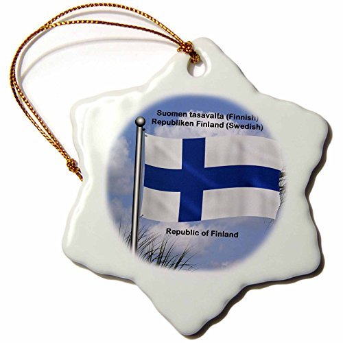 - 3dRose orn_58799_1 Flag of Finland Waving Against Sky with Republic of Finland Snowflake Ornament, Porcelain, 3-Inch