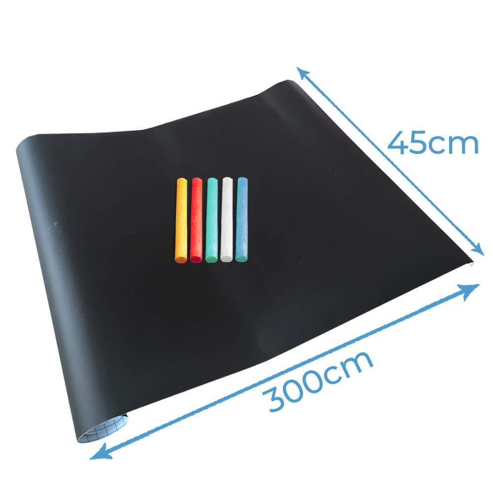 5 St/ück Bunte Kreide Gratis Selbstklebende Tafelfolie 200 x 45 cm Kreidetafel