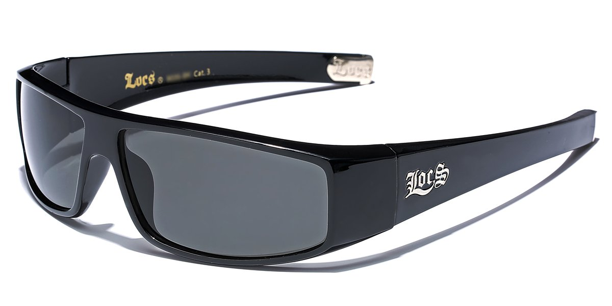 LOCS Original Gangster Shades Mens Flat Top Rectangular Sunglasses - Black