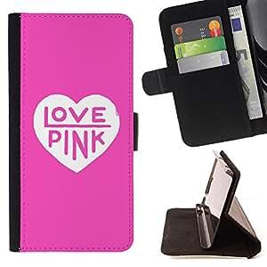 - love pink heart color text white clean - - Prima caja de la PU billetera de cuero con ranuras para tarjetas, efectivo desmontable correa para l Funny HouseFOR Apple Iphone 6