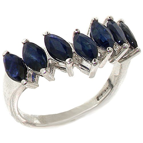 925 Sterling Silver Natural Sapphire Womens Wishbone Eternity Ring Sizes 4 to 12 Available