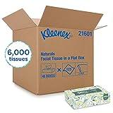 Kleenex 21601 Naturals Facial Tissue, 2-Ply, White, 125 per Box (Case of 48 Boxes)