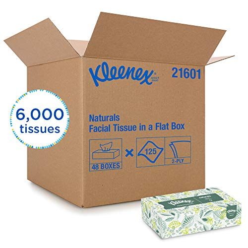 Kleenex 21601 Naturals Facial Tissue, 2-Ply, White, 125 per Box (Case of 48 Boxes)