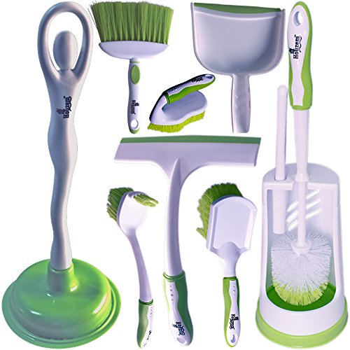 Toilet Brush Set by Houzem™ All-in-One Set - Scrub Brush, Toilet Plunger, Window Squeegee & Broom With Dustpan - Ideal For Household & Office Use - Durable Plastic