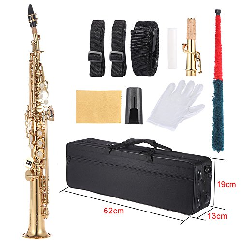 ammoon B Flat Soprano Saxophone Brass Straight Sax Bb B Flat Natural Shell Key Carve Pattern with Carrying Case Gloves Cleaning Cloth Straps Cleaning Rod