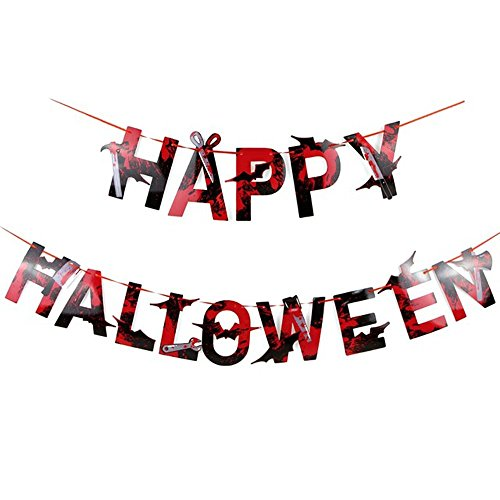 BinaryABC Happy Halloween Banner, Halloween Party Decoration,Scary Halloween