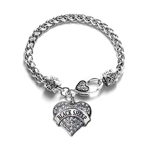 Inspired Silver - Black Sheep Braided Bracelet for Women - Silver Pave Heart Charm Bracelet with Cubic Zirconia Jewelry