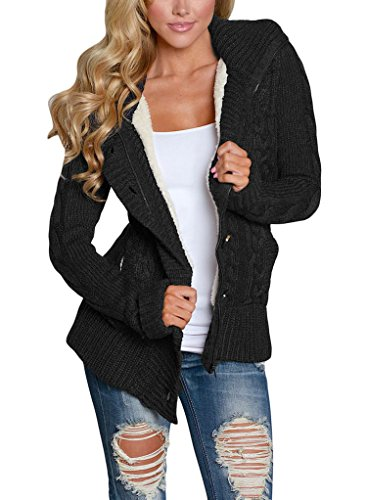 Sidefeel Women Hooded Knit Cardigans Button Cable Sweater Coat Large Black