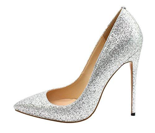 Grande Taille Guoar Femmes Bout Pointu Stiletto Brille Talons Hauts Pompes Chaussures Pour La Fête De Mariage A-argent