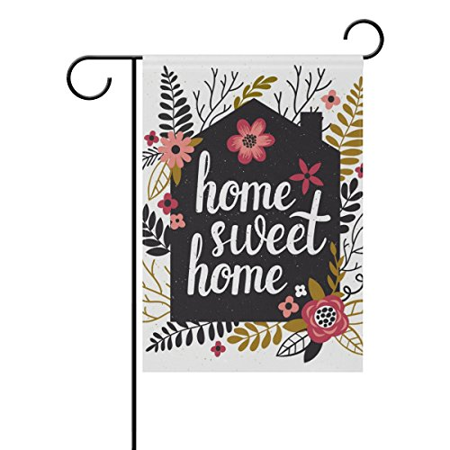 Flag Home Garden Welcome - U LIFE Decorative Hello Welcome Sweet Home Floral Garden Yard Flag Banner for Outside House Flower Pot Double Side Print 40 x 28 & 12 x 18 Inch