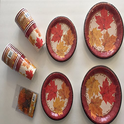 Fall Autumn Disposable Thanksgiving Dinnerware Paper Plates Dinner Dessert Plates Table Scatter Party Supply Bundle Set - Set Serves 24