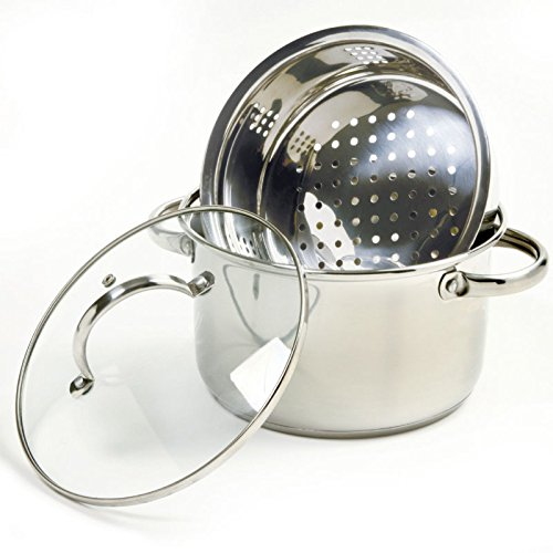 Norpro 2022 3 Piece 1810 Stainless Steel Steamer Cooker W/ Vented Lid