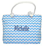 Personalized Beach Bag Chevron Canvas (Turquoise)